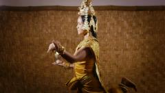 9of17 Asian female dancer showing traditional cambodian dance, khmer art Stock Footage