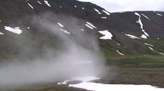 Moving cloud incoming into glacial valley Stock Footage
