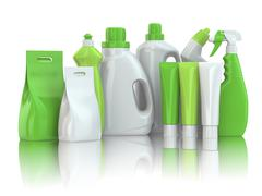 Cleaning supplies. household chemical detergent bottles Stock Illustration