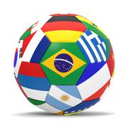 3D render of football and flags representing all countries in football world cup Stock Illustration