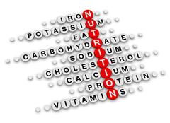 nutrition facts crossword - stock illustration