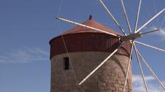 Old windmills on Rhodes, Greece. Stock Footage