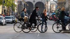 T/L Munich Ludwigstrasse university students commuters Traffic crossing zebra Stock Footage