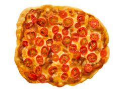 vegetarian red cherry tomato pizza - stock photo