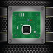 cpu on the motherboard - stock illustration