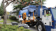 Stock Video Footage of New Garbage Truck Picks Up Trash