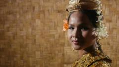 13of17 Asian female dancer showing traditional cambodian dance, khmer art Stock Footage