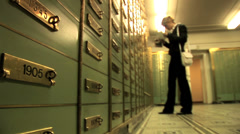 Women standing in front of locker. locker room save. savings safety Stock Footage