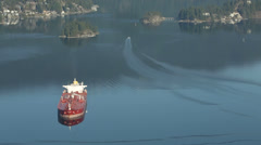 Anchored Burrard Inlet Oil Tanker Stock Footage