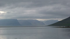 Cloudy landscape in the arctic fjords during the summer Stock Footage