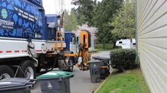 Garbage Truck Picks Up Trash Stock Footage