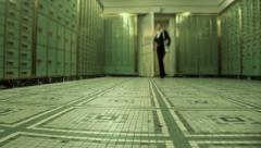 Stock Video Footage of locker room. inside bank. save money cash. withdraw
