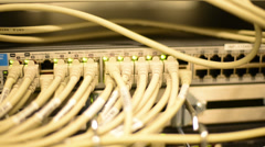 Network Hub Security in Data Center Stock Footage