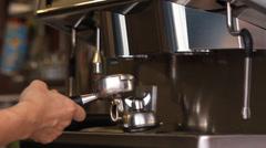 Barista making espresso coffee menu Stock Footage