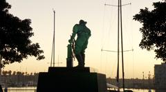 Marina Statue at Sunset - stock footage