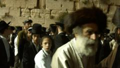 Jews pray at the Western Wall during passover holiday Stock Footage