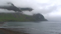 Fjord bay with low clouds standing Stock Footage