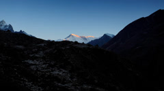 Timelapse sunrise in the mountains Cho Oyu, Himalayas, Nepal.  Stock Footage