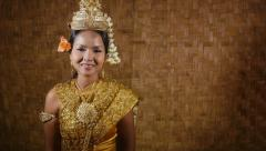 17of17 Asian female dancer showing traditional cambodian dance, khmer art Stock Footage