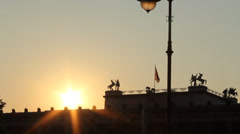 Sunset over the Old Museum in Berlin Stock Footage