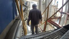 Engineer to working in petrochemical industrial plant Stock Footage