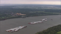 Trees River Cargo Boat Stock Footage