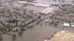 Flooding Town Homes Submerged Stock Footage