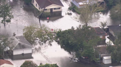 Flooding Homes Utility Pole Stock Footage