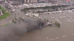 Flooding Boats Building Fire Stock Footage