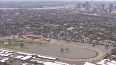 Flooding City Horse Track Homes Stock Footage