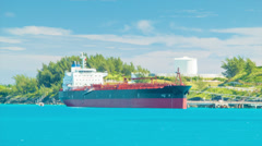Oil Tanker Docked in a Tropical Island Stock Footage