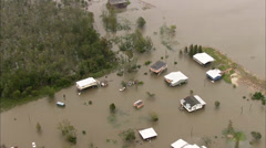 Flooded Buildings Homes Stock Footage