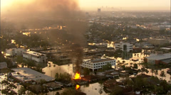 Homes Flooding Hospital Buildings Fire Stock Footage