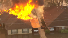 Flooding Buildings Fire Stock Footage