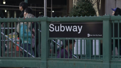 Crowded New York City Subway Entrance Stock Footage