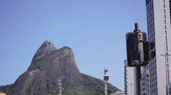 Beautiful view in rio - morro dois irmãos, blue sky and traffic lights Stock Footage