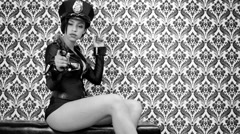 Sexy police woman party dancer disco Stock Footage