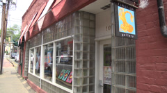 Exterior small art gallery bookstore Stock Footage
