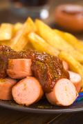 german fast food called currywurst - stock photo