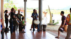 Meeting of passengers at the airport Busuanga with the rhythms of the drums Stock Footage