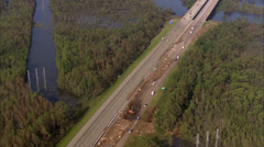 Louisiana Freeway Greenery Hurricane - stock footage