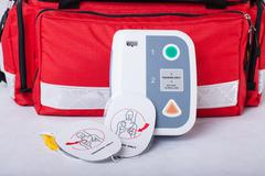 automated external defibrillator - stock photo