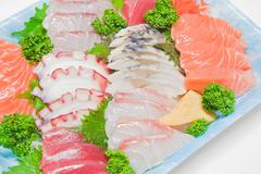 Mixed sashimi, raw fish Stock Photos