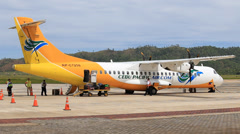 Cebu Pacific airplane in Busuanga airport, island Coron, Philippines Stock Footage