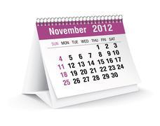 november 2012 desk calendar - stock illustration