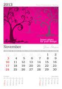 november 2013 a3 calendar - stock illustration