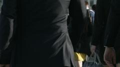 Large crowd of pedestrians walk over London Bridge 29c. 4K version Stock Footage