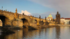 View from Kampa of Charles Bridge Stock Footage