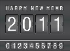 editable 2011 new year on mechanical scoreboard - stock illustration