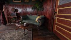 Historic Antique Parlor with Federal Sofa and Opulent Gold Gilt Stock Footage